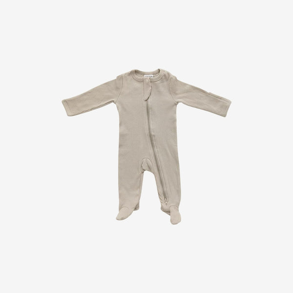 Organic Cotton Rib Zipper Footed One-Piece Romper - Oatmeal