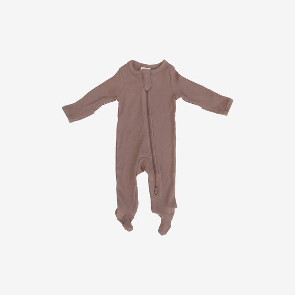 Organic Cotton Rib Zipper Footed One-Piece Romper - Plum