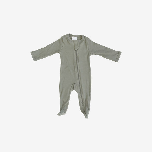 Organic Cotton Rib Zipper Footed One-Piece Romper - Green