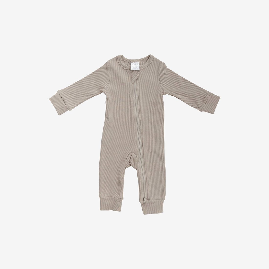 Organic Cotton Rib Zipper Romper - Oatmeal