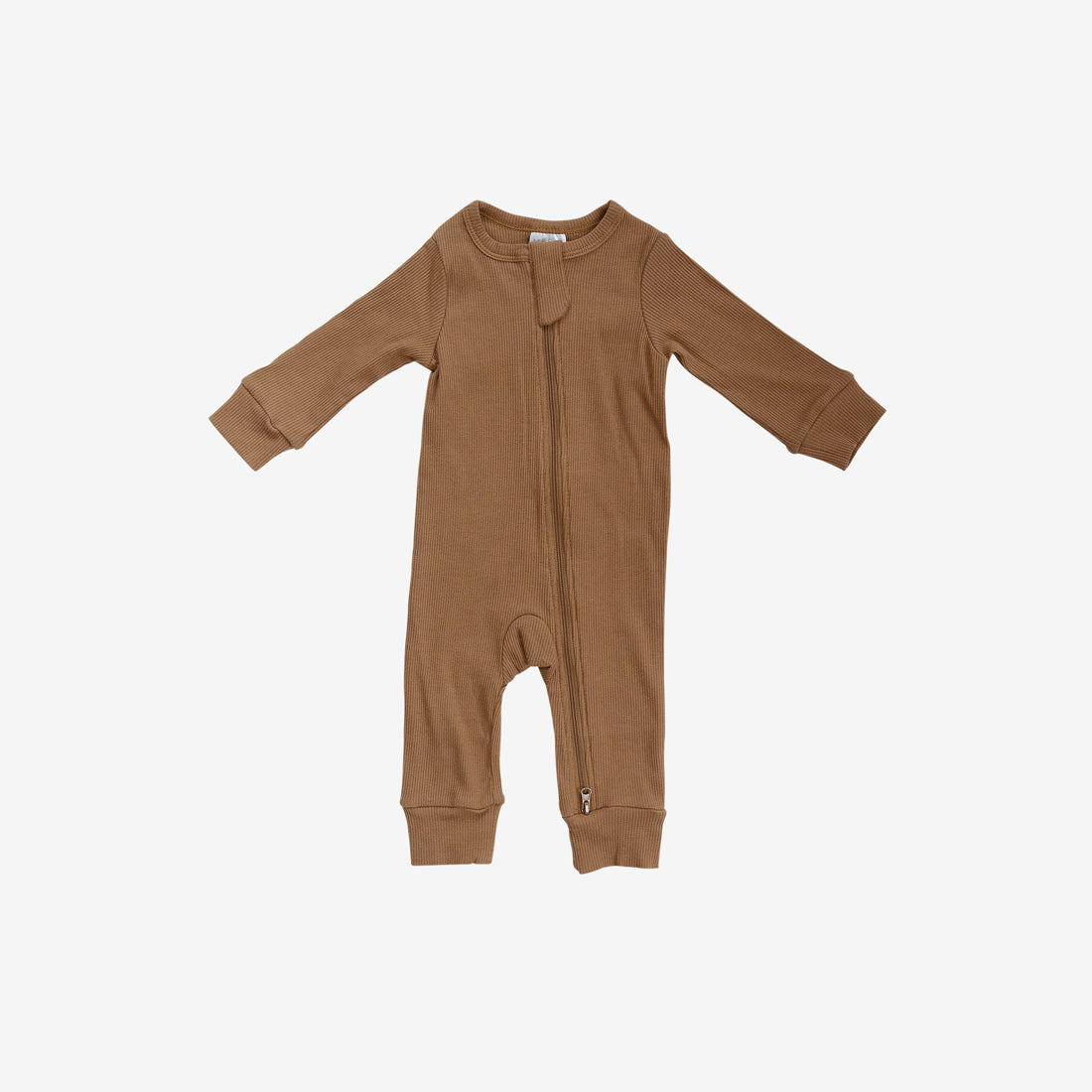 Organic Cotton Rib Zipper Romper - Mustard