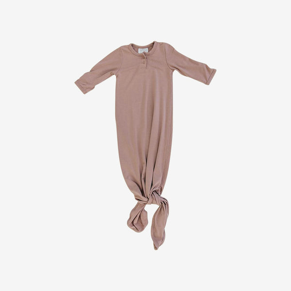 Rayon Knotted Baby Gown - Dusty Rose