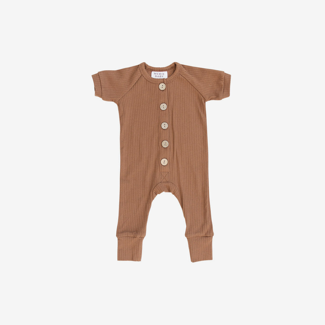 Ribbed Cotton S/S Button Romper - Honey