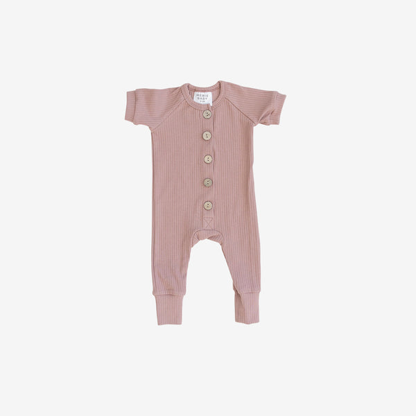 Ribbed Cotton S/S Button Romper - Rose