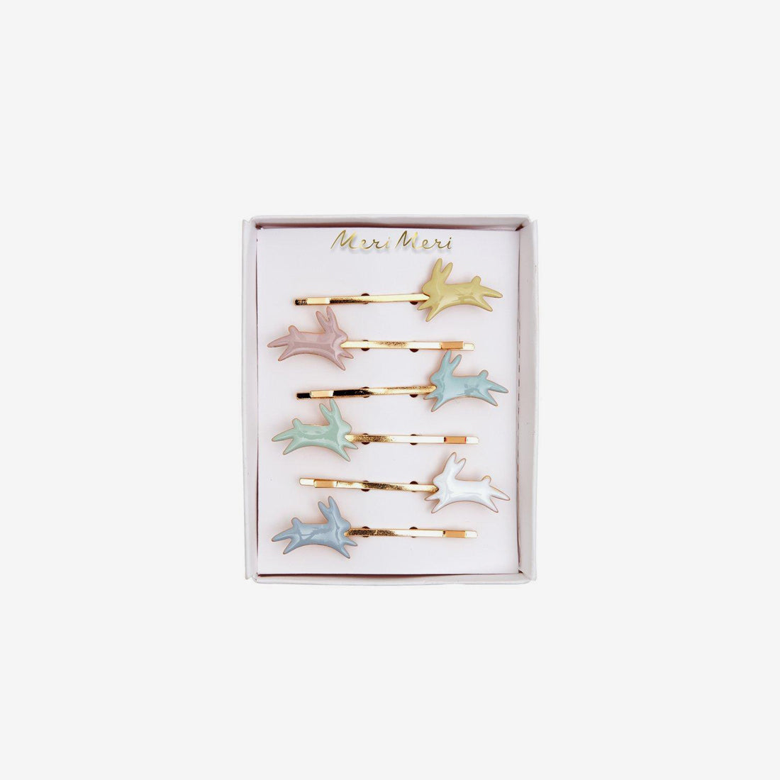 Enamel Hair Clips 6-Piece Set - Bunnies