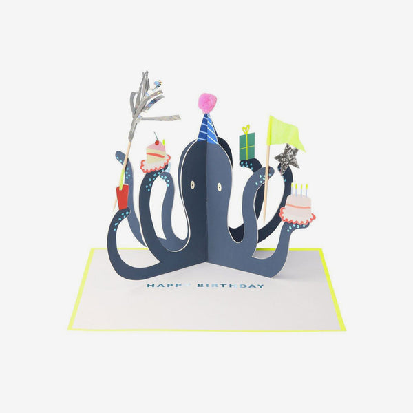 Concertina Birthday Card - Party Octopus