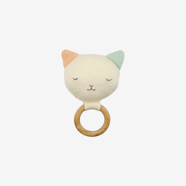 Organic Knit Baby Rattle - Cat