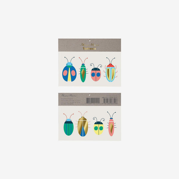 Large Temporary Tattoo Sets - 8pc Neon Bugs