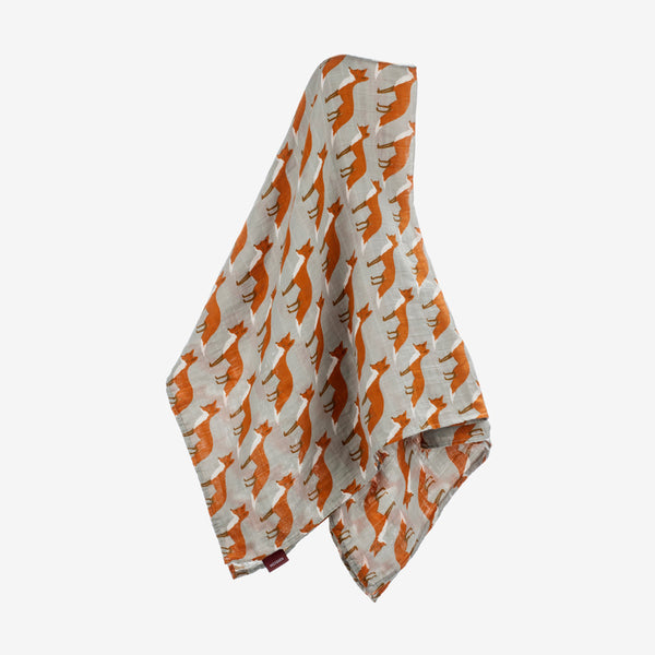 Organic Muslin Swaddle - Orange Fox