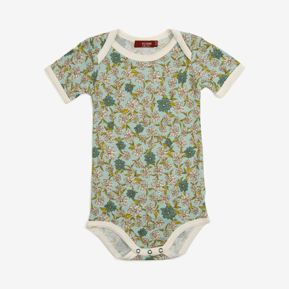 Bamboo Short-sleeve Onesie - Blue Floral