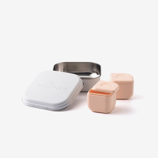 Grow Bento + 2 Silipods - Peach/White