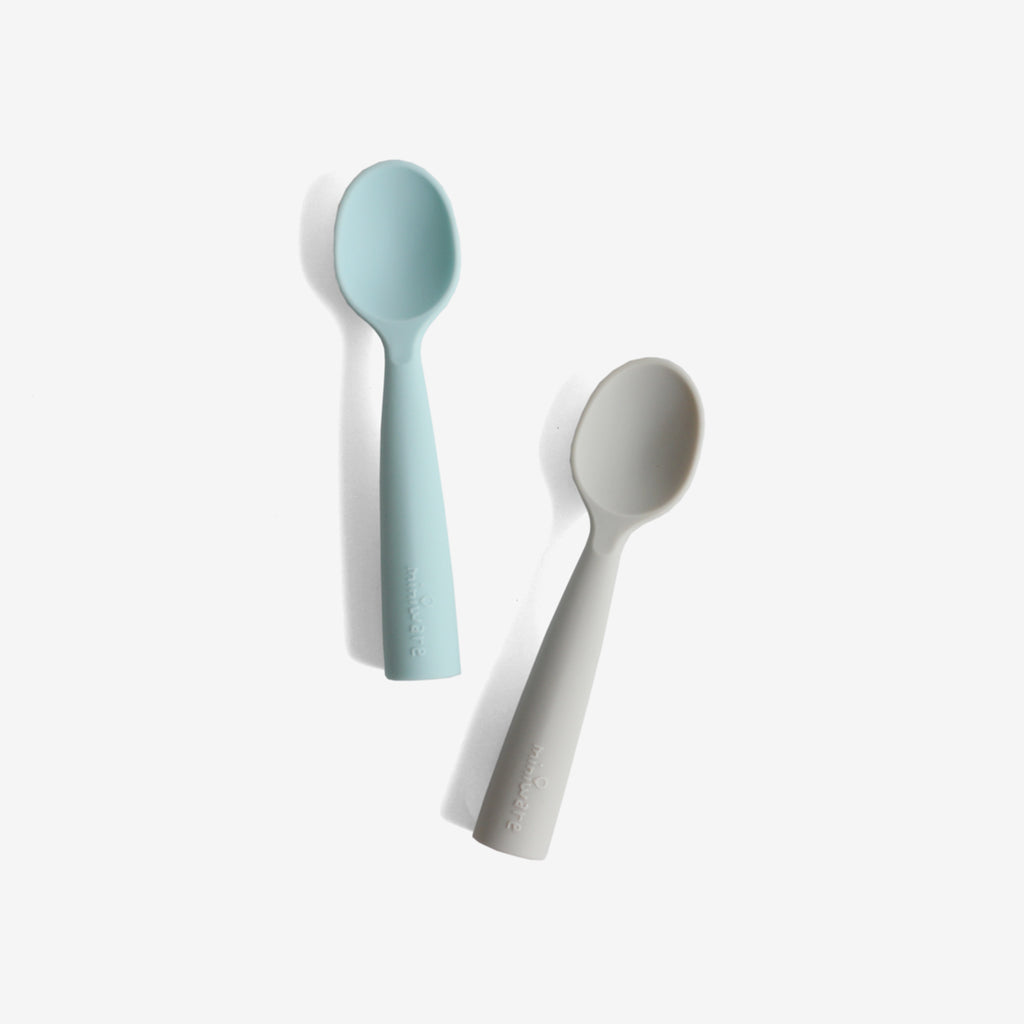 Silicone Teething Spoon Set - Grey + Aqua