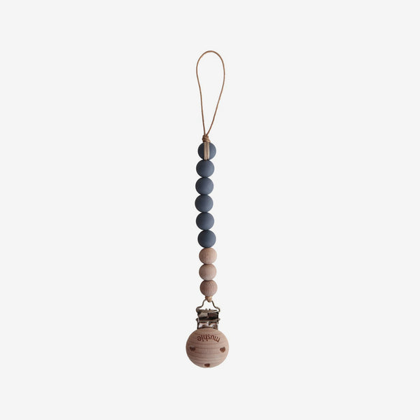 Cleo Silicone + Wood Pacifier Clip - Iron