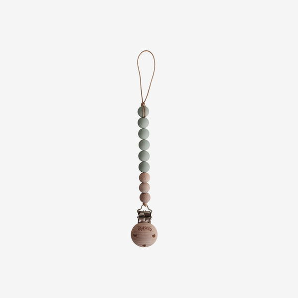 Cleo Silicone + Wood Pacifier Clip - Sage