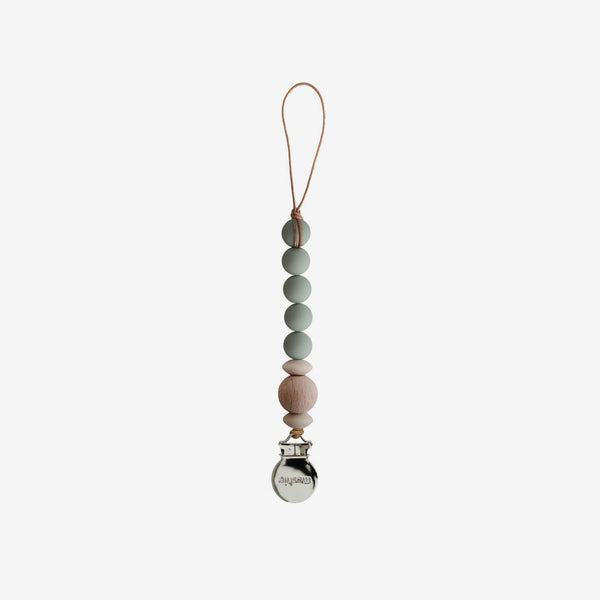 Cora Silicone + Wood Pacifier Clip - Sage
