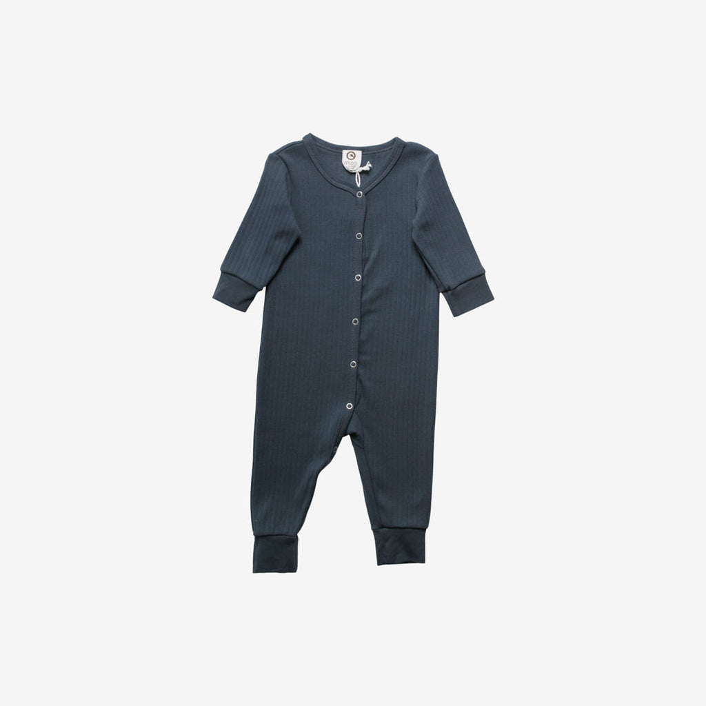 Cozy Organic Rib Romper - Midnight