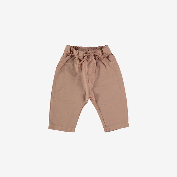 Wyatt Linen-Cotton Baby Trousers - Terra cotta
