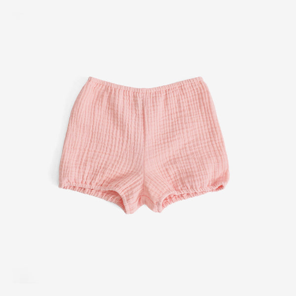 Crinkled Muslin Bloomer Shorts - Pink