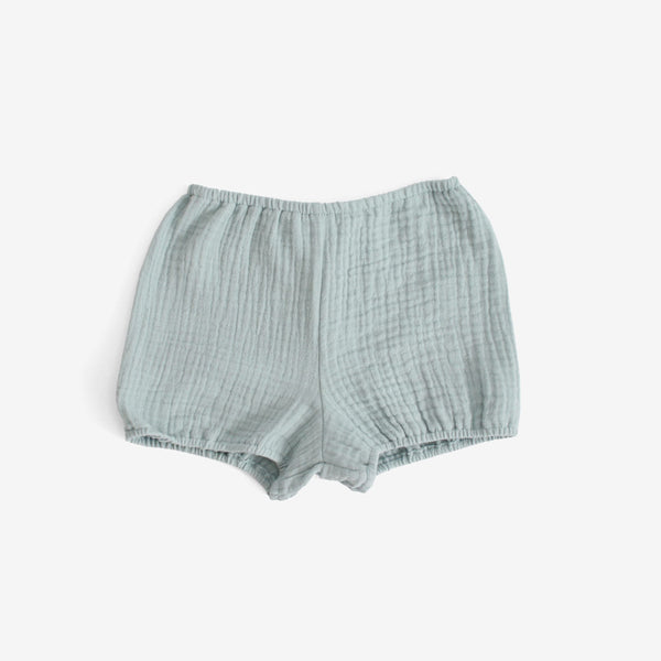 Crinkled Muslin Bloomer Shorts - Powder Blue