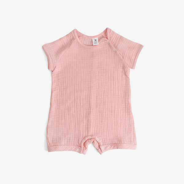 Crinkled Muslin Growsuit - Pink