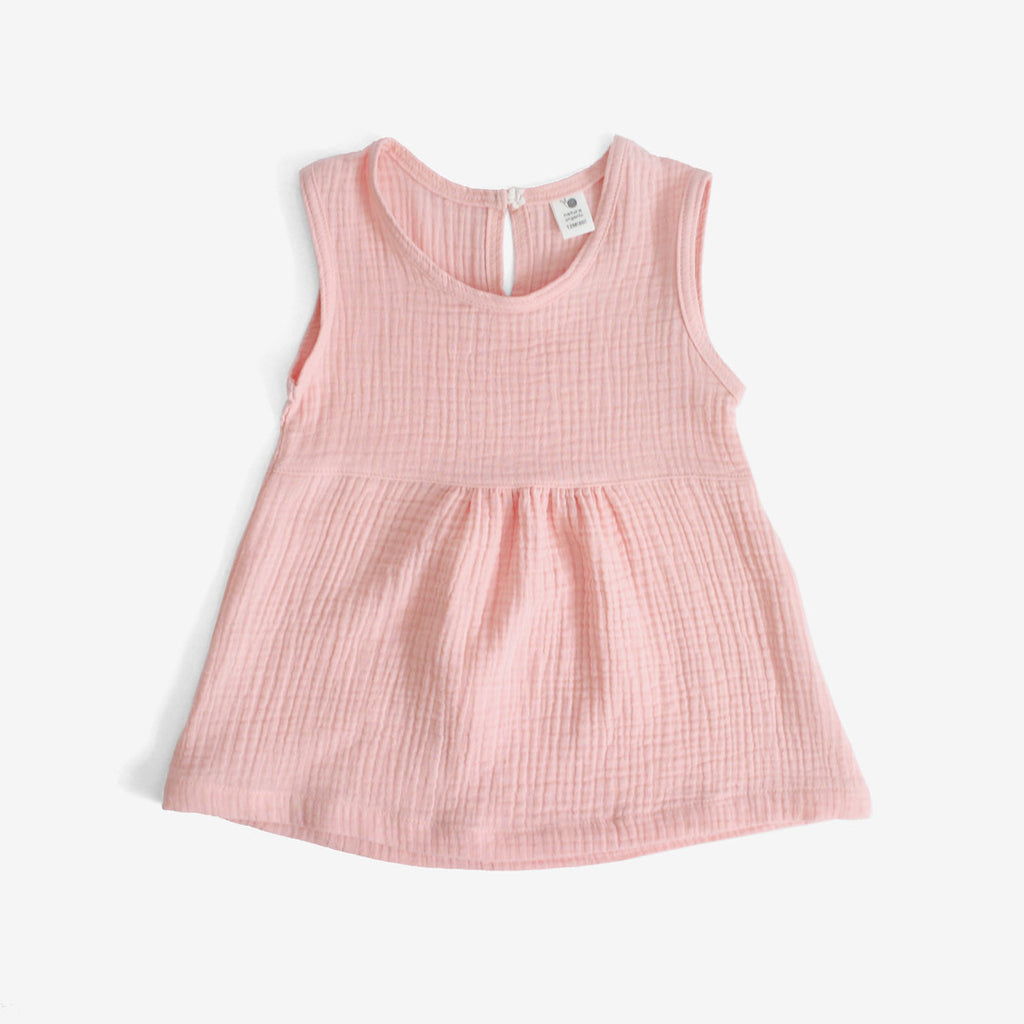 Crinkled Muslin Sleeveless Dress - Pink