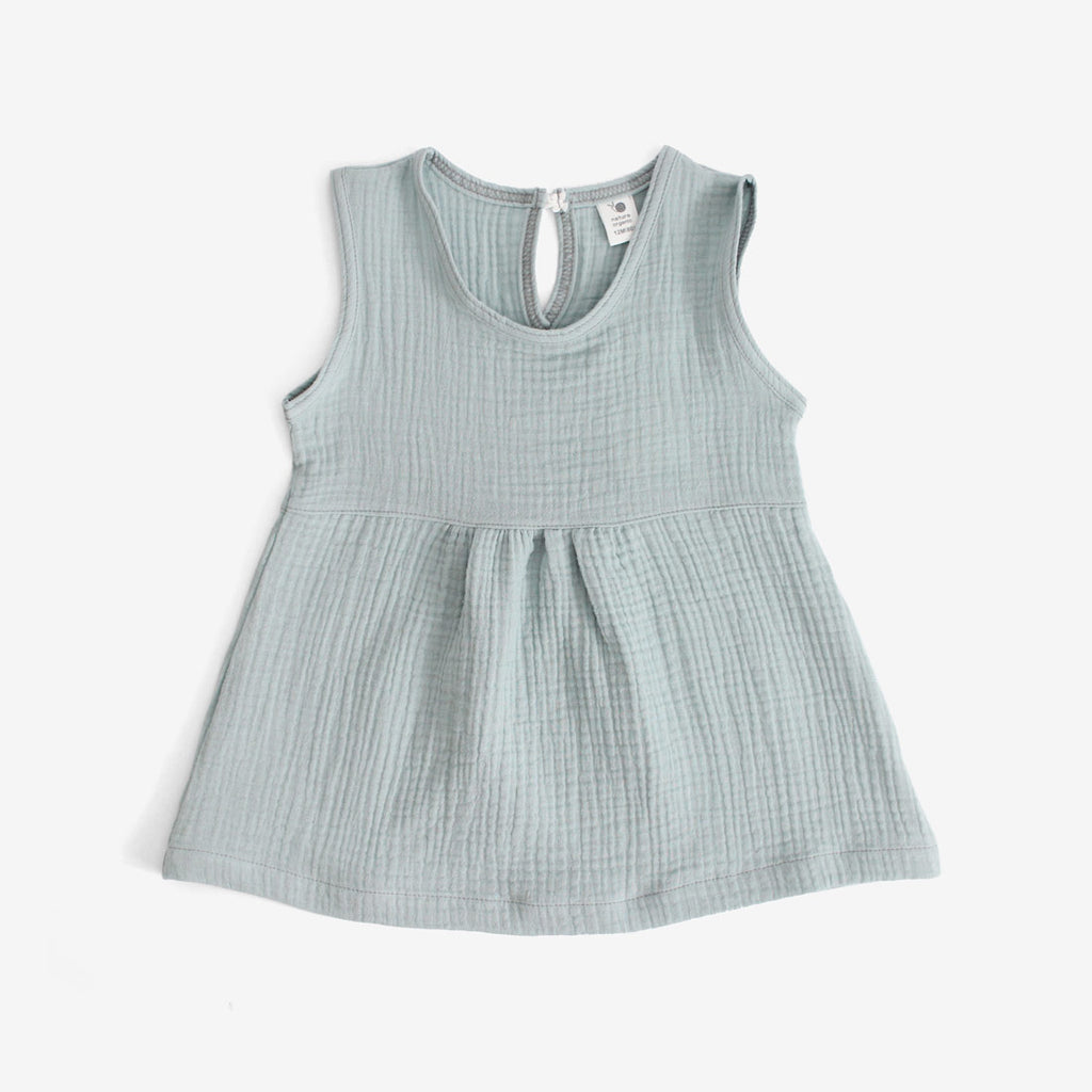 Crinkled Muslin Sleeveless Dress - Powder Blue