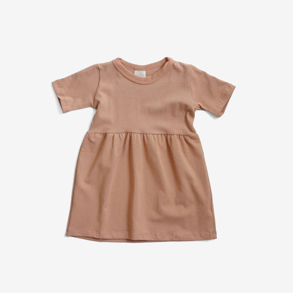 Organic S/S Gathered Dress - Toasted Almond