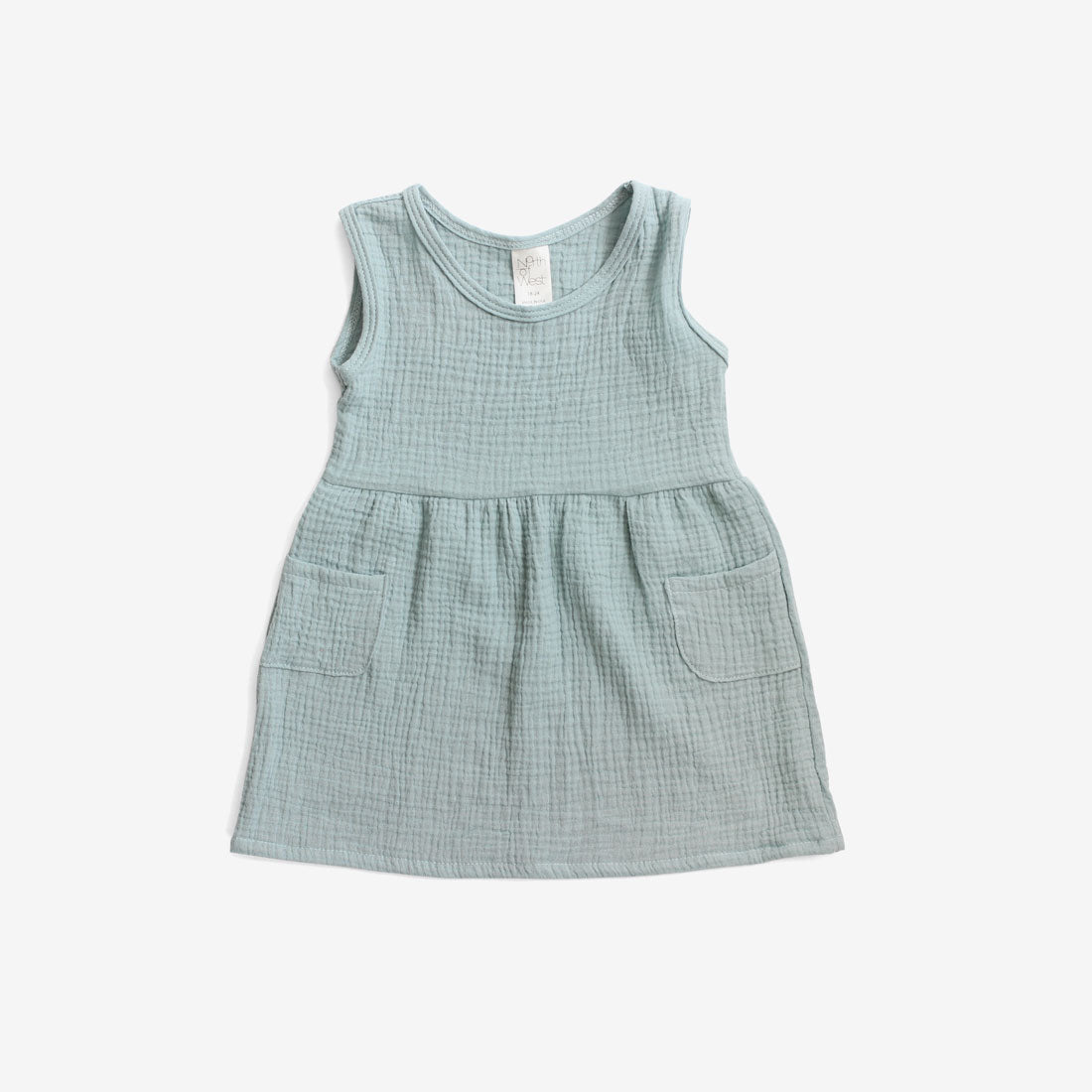 Double Gauze Woven Tank Dress - Dusty Aqua
