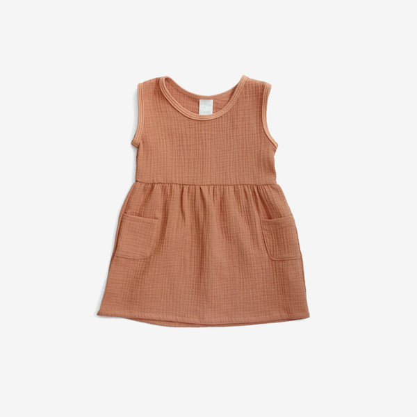 Double Gauze Woven Tank Dress - Toasted Almond