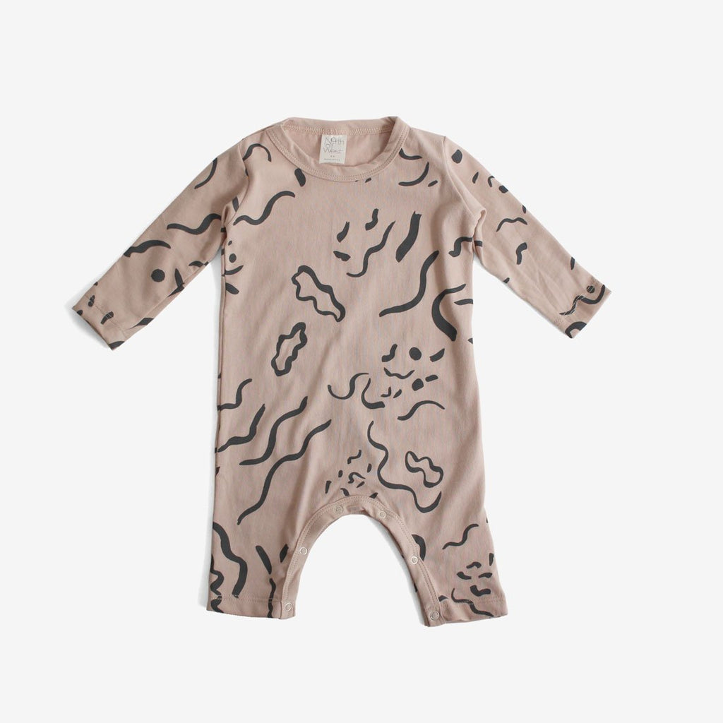 Painted Print L/S Organic Jumpsuit - Dusty Rose