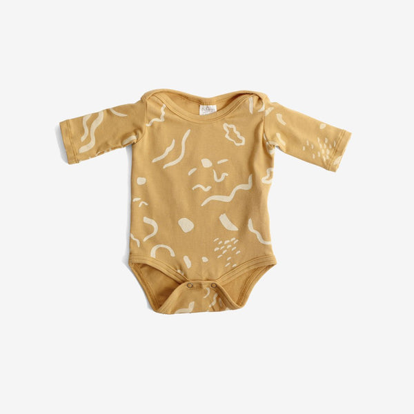 Painted Print L/S Organic Onesie - Gold