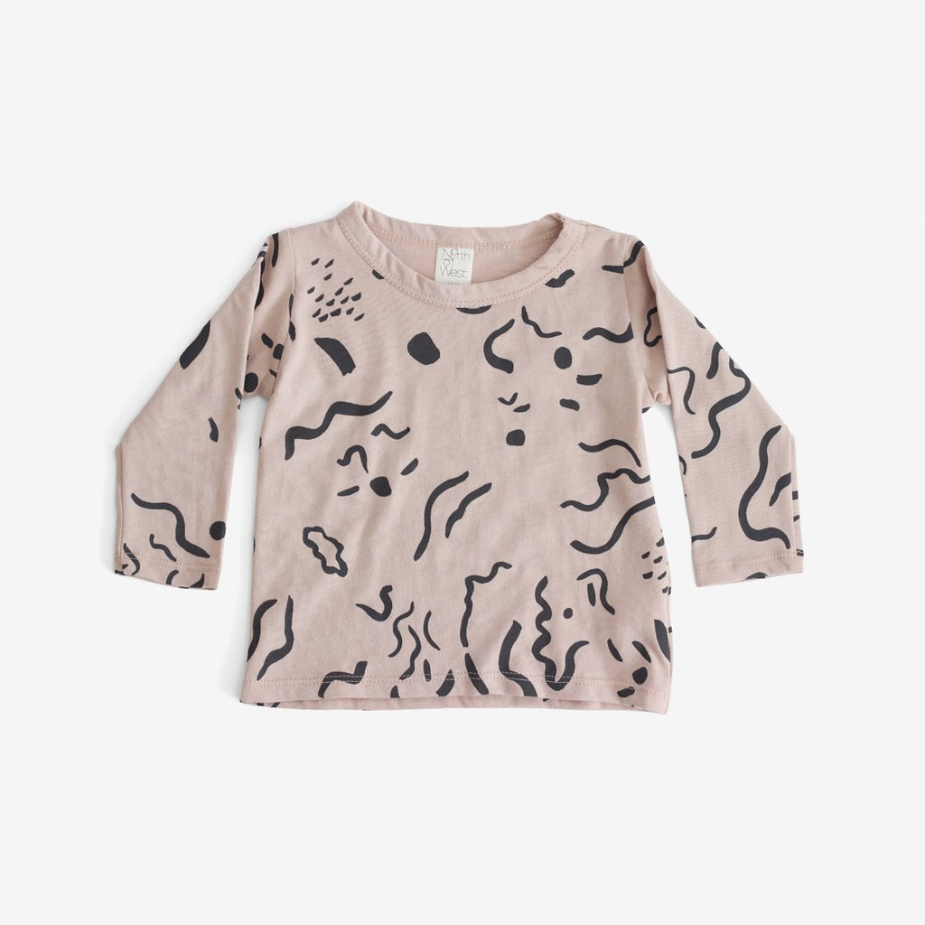 Painted Print Organic L/S Tee - Dusty Rose