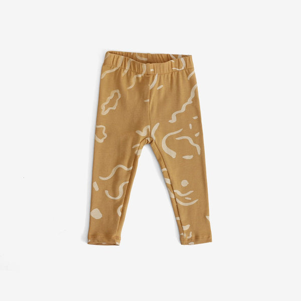 Painted Print Organic Leggings - Gold