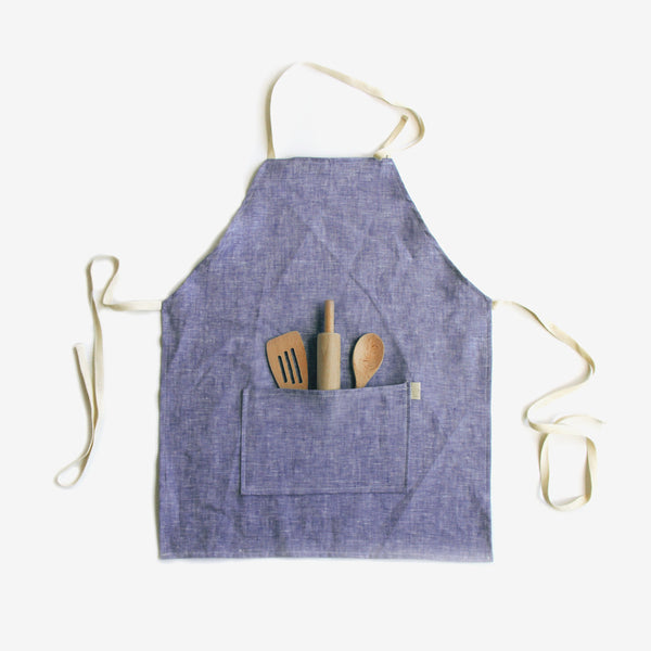 Indigo Linen Apron with 3-Piece Tool Set