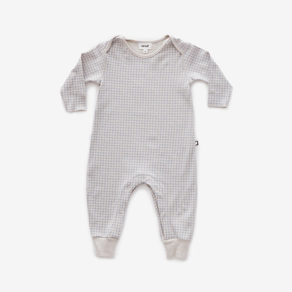 Organic Pima Jumpsuit - Blue Check