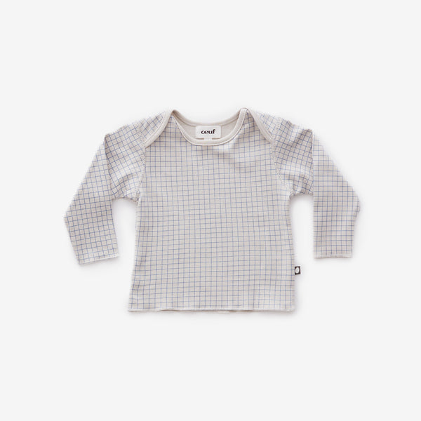 Organic Pima Lap-shoulder Tee - Blue Check