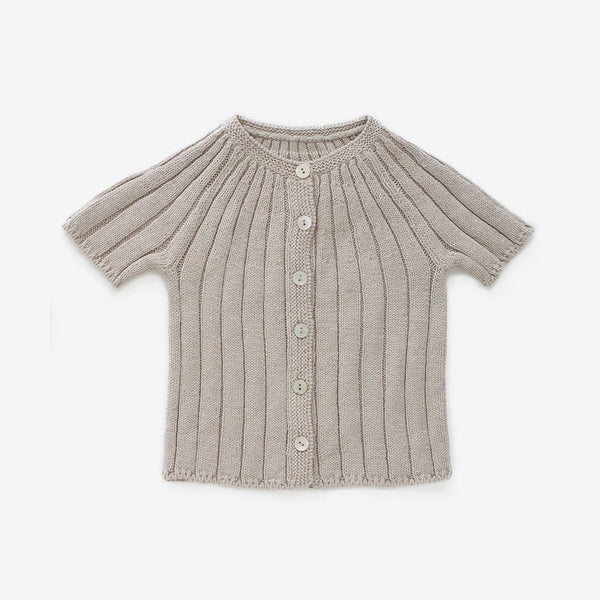 Ribbed Cotton Cardi - Ash