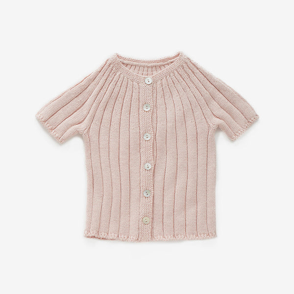 Ribbed Cotton Cardi - Blush