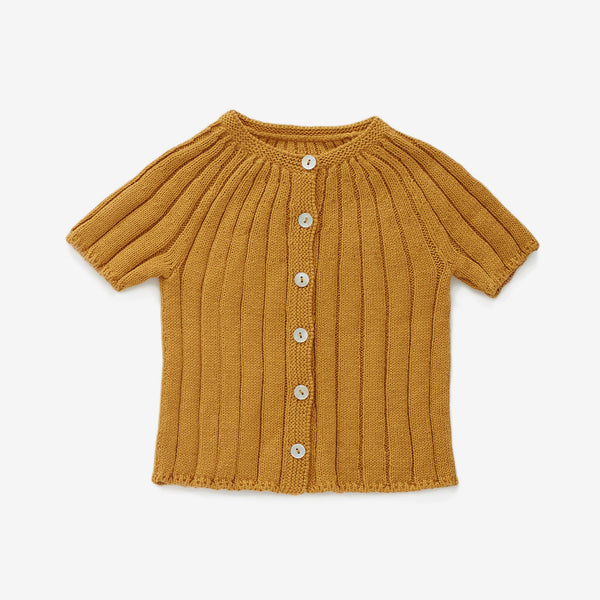 Ribbed Cotton Cardi - Ochre