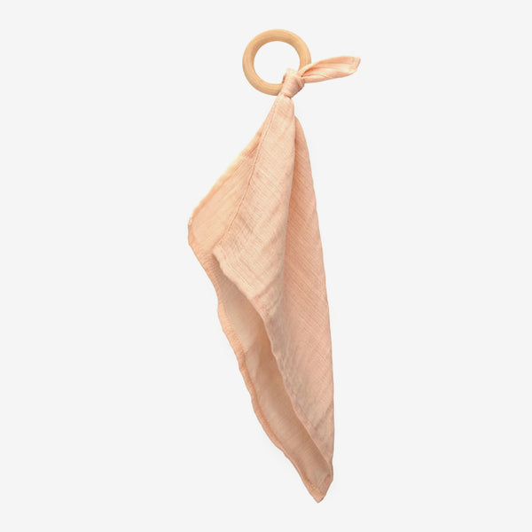 Organic Cotton Muslin Teether - Coral