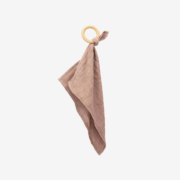 Organic Cotton Muslin Teether - Taupe