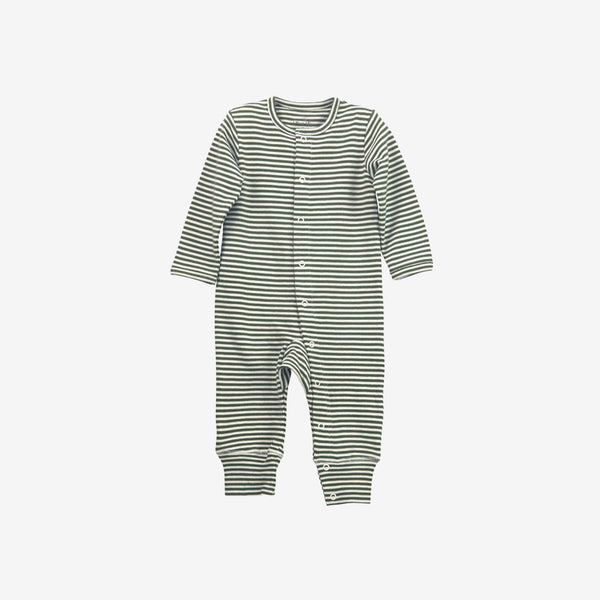 Organic Jersey Union Suit - Olive Stripe