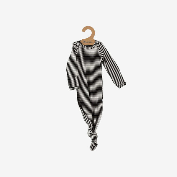 Organic Pima Essentials Gown - Charcoal Stripe