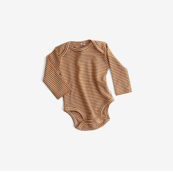 Organic Pima Essentials L/S Onesie - Rust Stripe