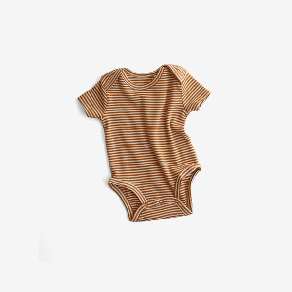 Organic Pima Essentials S/S Onesie - Rust Stripe