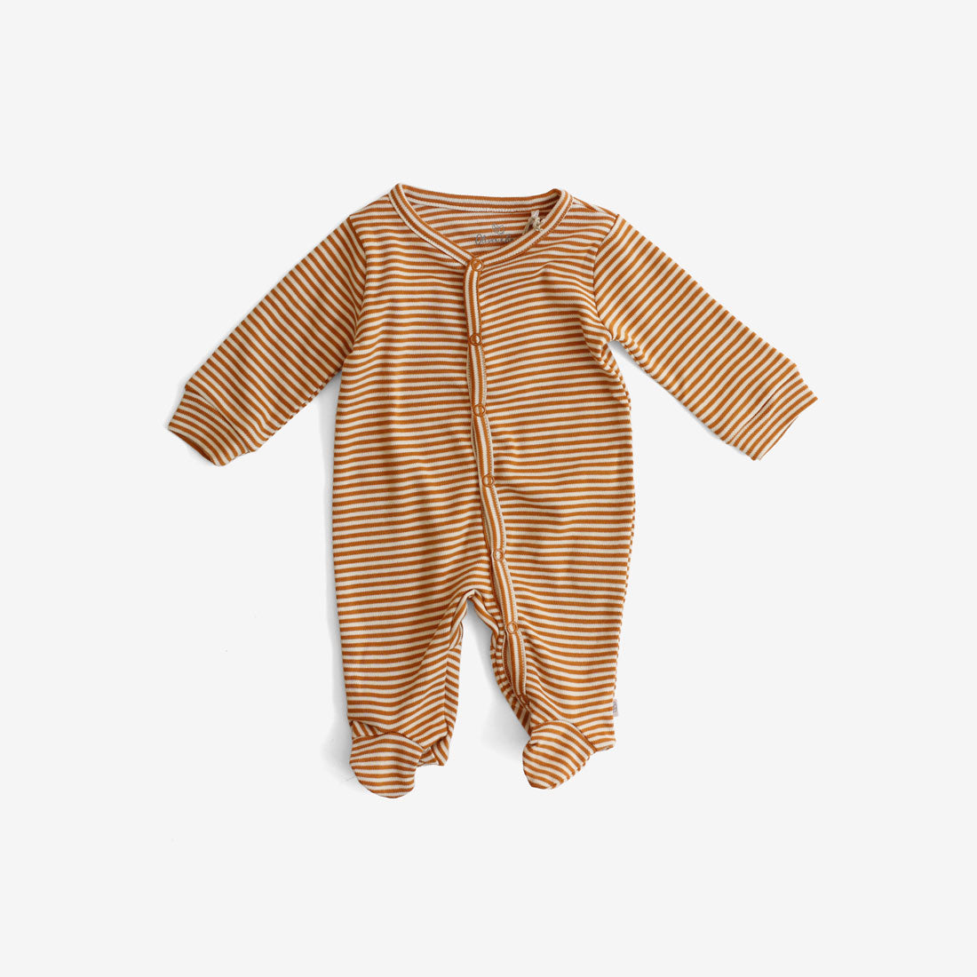 Organic Pima Snap Footed Romper - Rust Stripe