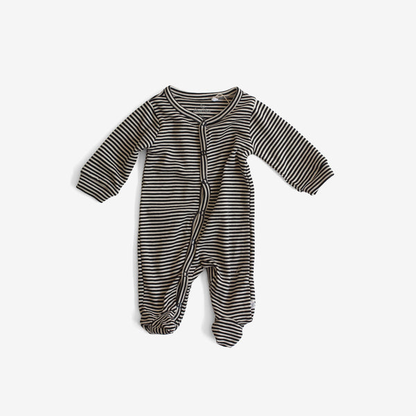 Organic Pima Snap Footed Romper - Charcoal Stripe