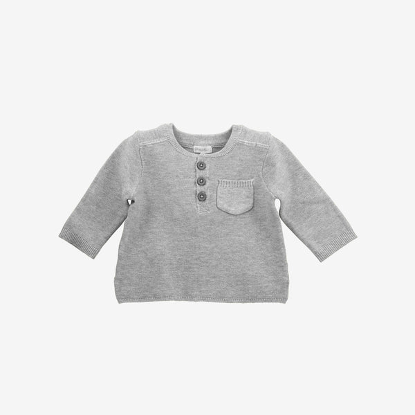 Pocket Henley Sweater - Heather Grey