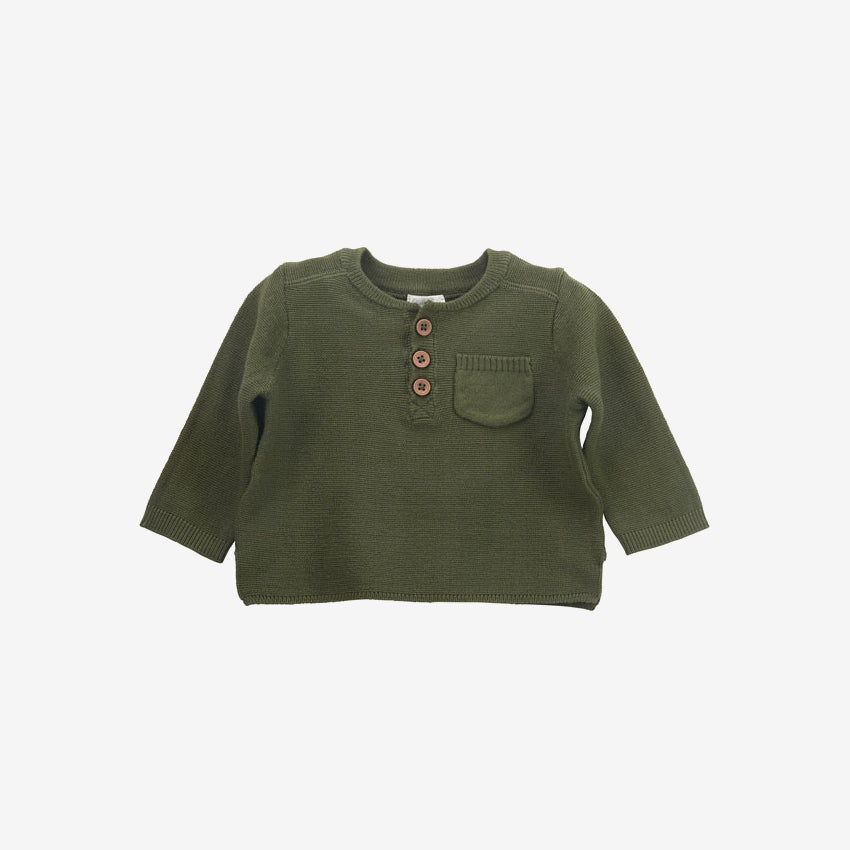 Pocket Henley Sweater - Olive