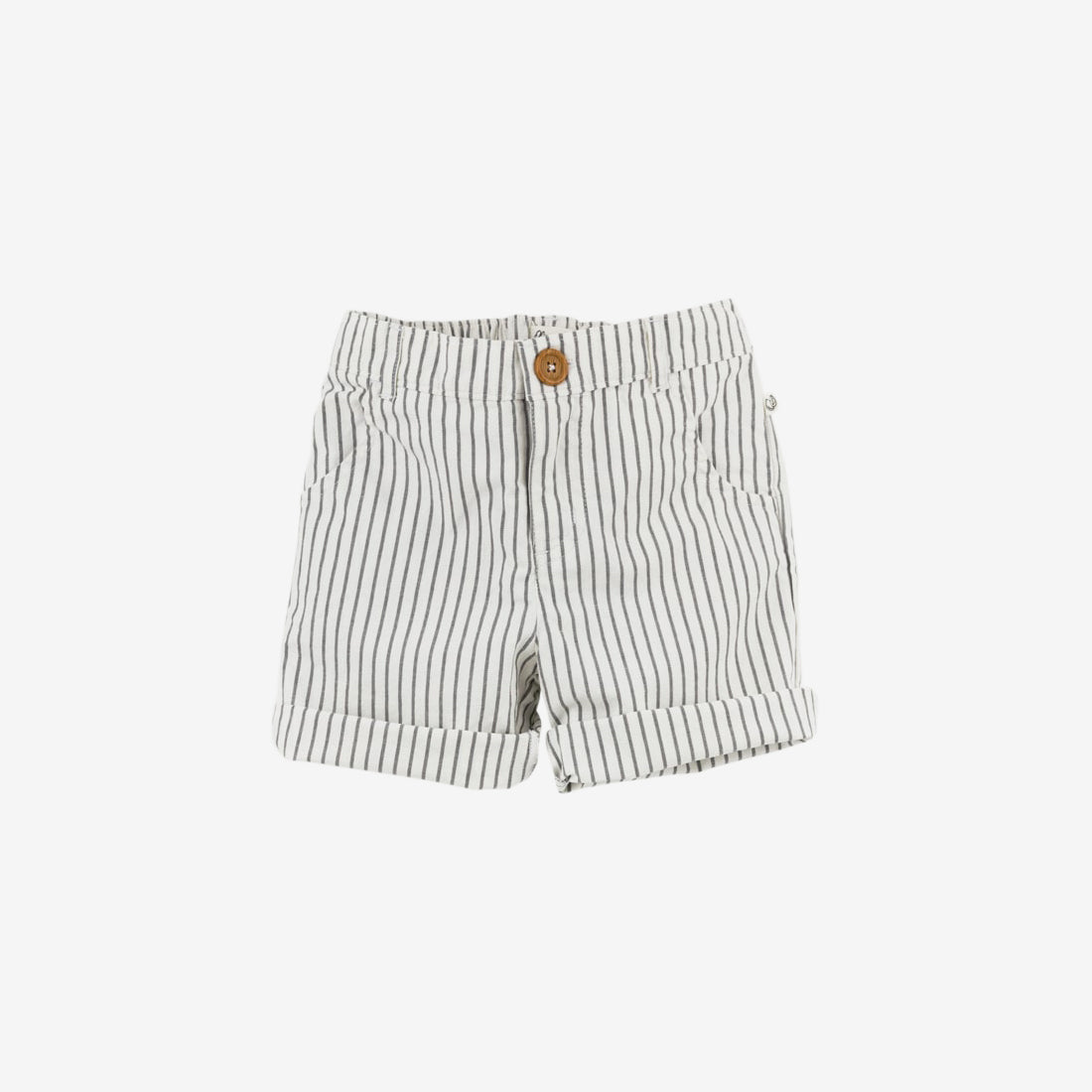Taupe Stripe Organic Woven Short - Baby & Toddler